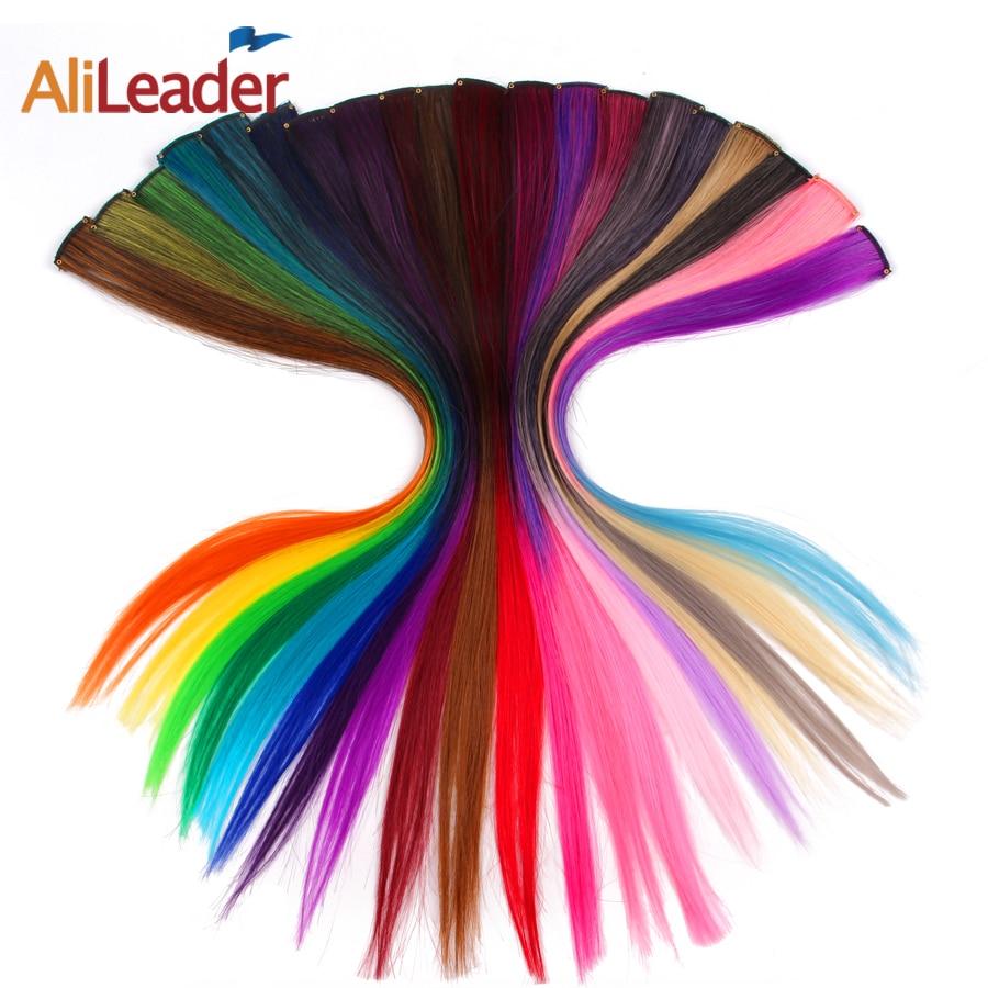 Extension synthétique lisse Ombre en une pièce-Alileader | Longue, 50Cm, 20 pouces, extension avec Clip en une pièce, rose, violet, bleu