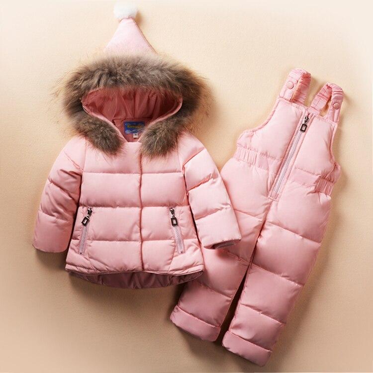 Roupas meninas Define Desgaste da Neve do Inverno Meninos Meninas Conjuntos de Roupas de Moda Crianças 2Pcs Jaqueta + Macacão Terno Outerwear pele genuína