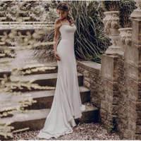 Sexy Beach Wedding Dress 2019 Elegant Spaghetti Straps White Ivory Mermaid/Trumpet Bride Dress Train Wedding Gowns
