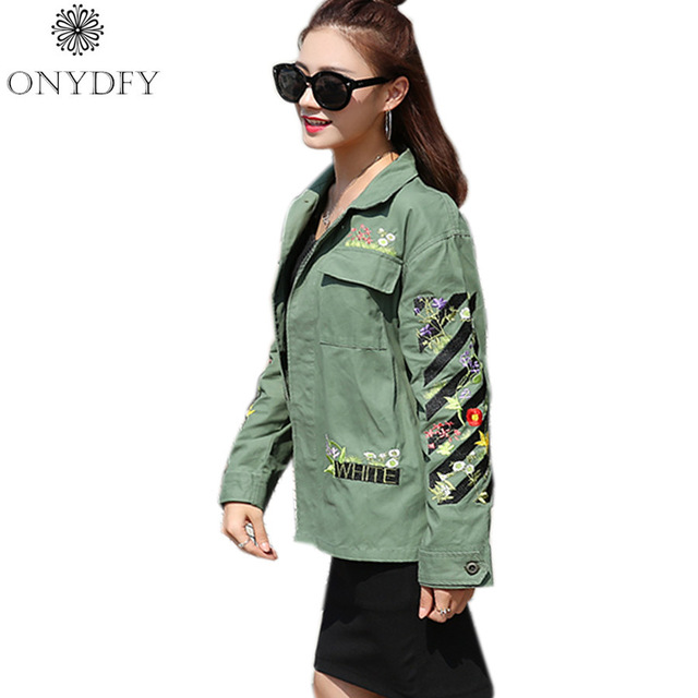 Floral Embroidery Bomber Jacket Spring 2017 Brand Women Basic Coats Casual Coat Punk Outwear Military Jackets Chaquetas Mujer