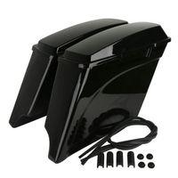 Vivid Black 5 Extended Hard Saddlebags Trunk For Harley Touring FLH FLT Electra Ultra Glide Road King 93 13 Motorcycle