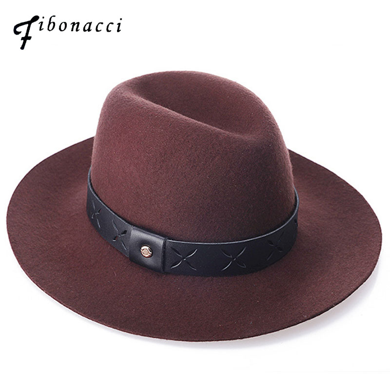Fibonacci Belt Wool Felt Fedoras Hats High Quality Retro Unisex Jazz Hat For Women Men Caps