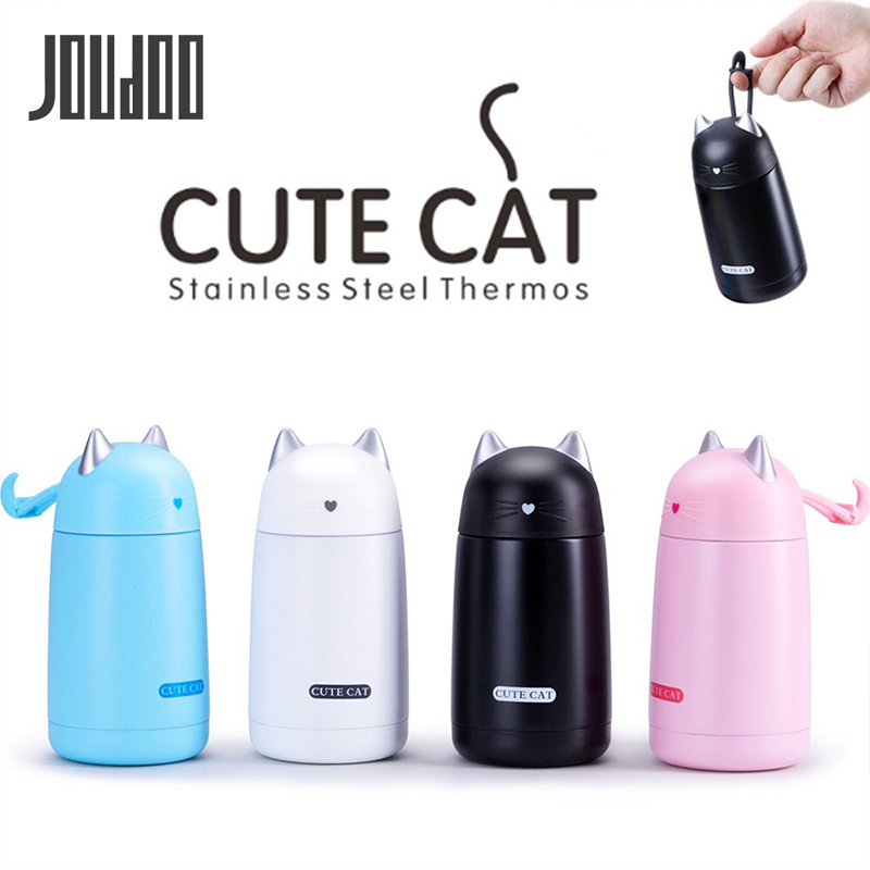 JOUDOO 330ml Thermos Cup Cartoon Cat Thermo Mug Drinkware Water Bottle Stainless Steel Vacuum Flask Leak-proof Tumbler 35