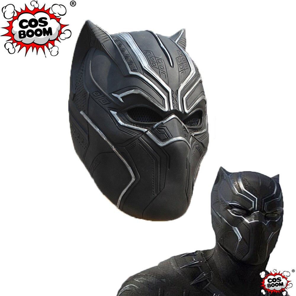 COSBOOM Black Panther Mask Hard Latex Adult Halloween Carnival Cosplay Props Full Face Mask Civil War Black Panther Mask