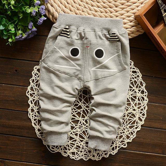 2016 New Spring&Autumn Baby Pants 1 Piece Cotton Cartoon Pictures Kids Pants 7-24 Month Baby Boy Clothes Free Shipping