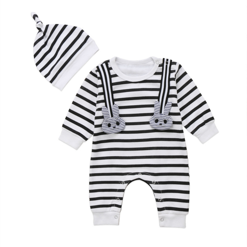 Cute Newborn Baby Boys Girls Romper Adorable Bunny Pop Striped Long Sleeve Romper 2018 New Clothes Outfits Set ...
