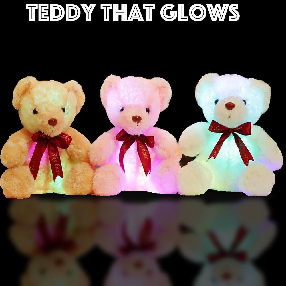 Lumière douce Up Teddy-Glow Flash Toy-7 Humeur Couleurs Confortable En Peluche Ours En Peluche Animaux Cadeau Pour Les Enfants En Bas Âge Enfants partie