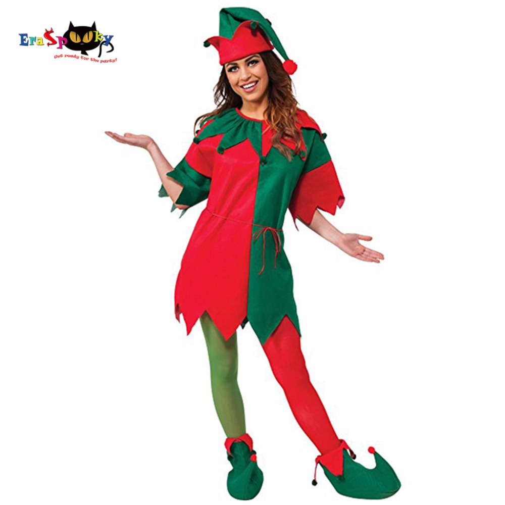 Eraspooky Christmas Costume Miss Santa Costume Christmas Dress Women Christmas Elf Costume Hat Coat Shoes Set New Year Cosplay