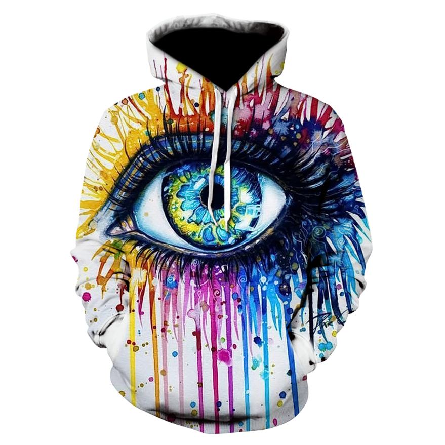 Rainbow eye By Pixie cold art Autumn Sweatshirts Men Hoodies 3d Printing Pullover Funny Tracksuits Streetwear Hoody