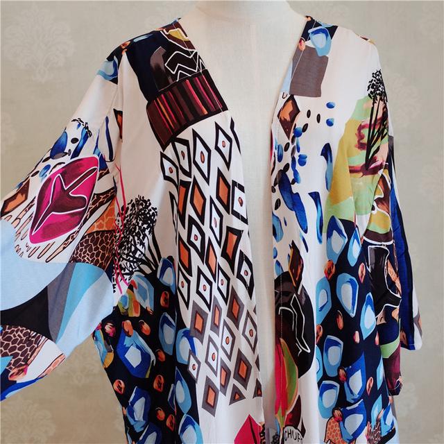 Fanco Bohemian Printed Half Sleeve Summer Beach Wear Long Kimono Cardigan Cotton Tunic Women Tops Blouse Shirt Sarong Plage