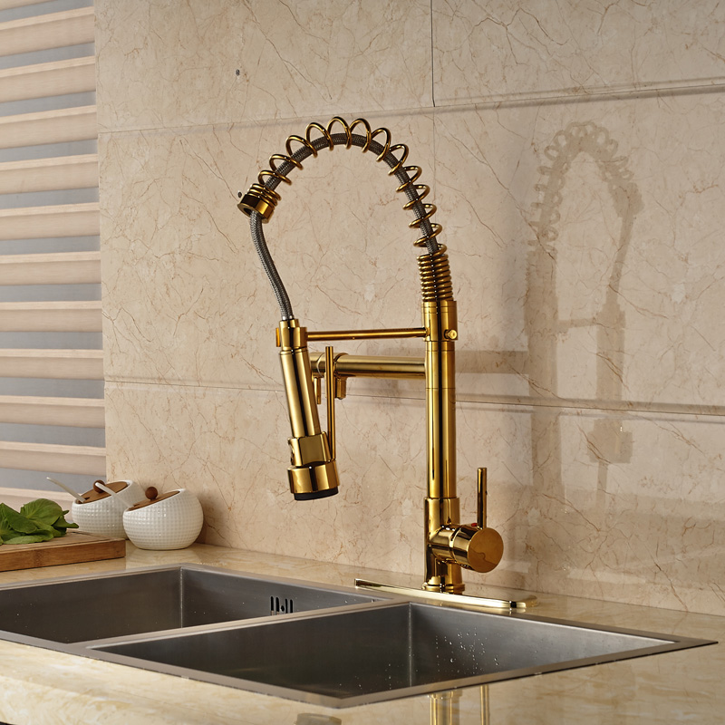 High-grade Golden Finish Deck Mounted Kitchen Spring Mixer Faucet with Hole Cover Plate wholesale and retail kitchen faucet chrome finish brushed nickel deck mounted with hole cover plate
