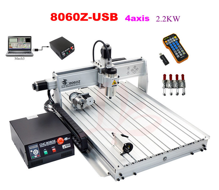 Best quality USB mini cnc router 8060 2200w 4 axis cnc engraving machine with ball screw,free tax send to Russia free tax to eu high quality cnc router frame 3020t with trapezoidal screw for cnc engraver machine