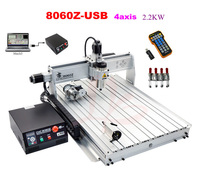 Best Quality USB Mini Cnc Router 8060 2200w 4 Axis Cnc Engraving Machine With Ball Screw
