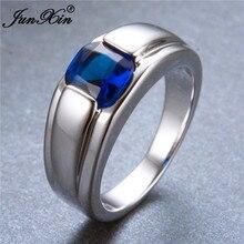 Великолепное модное простое мужское женское кольцо с голубым камнем, 925 серебряное заполненное ювелирное изделие, винтажное обручальное кольцо, подарки на день рождения