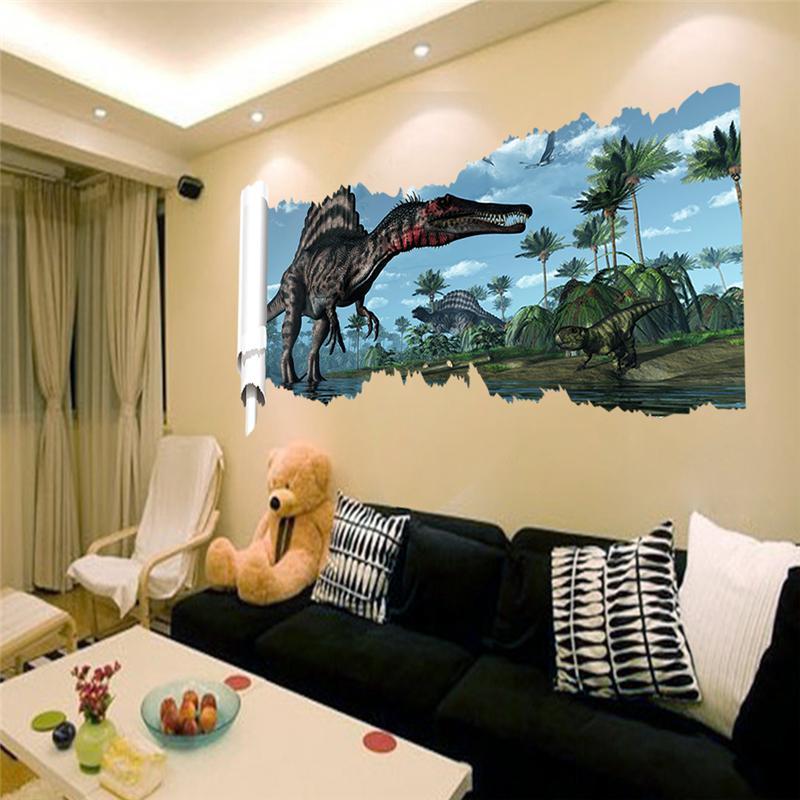 X002* 3d dinosaurs wall stickers jurassic park home decoration diy ...