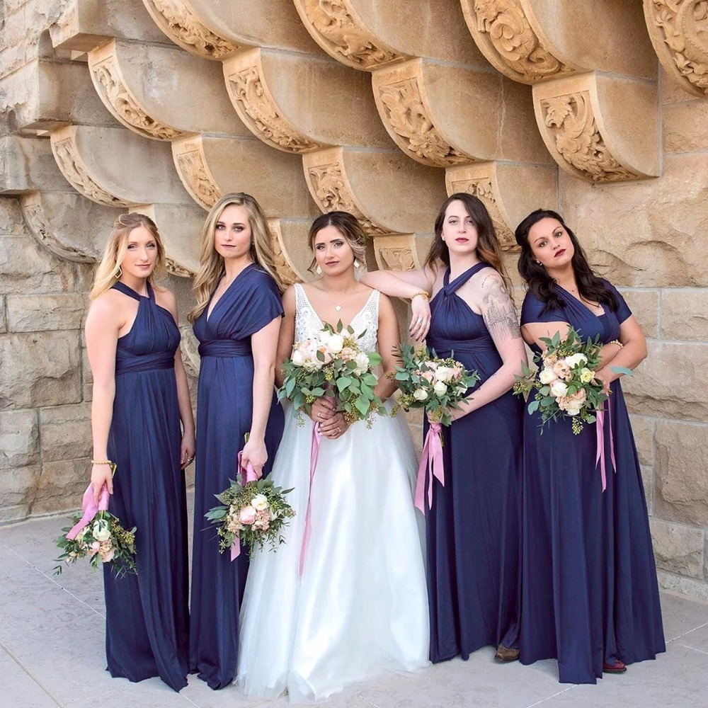 Navy Blue Bridesmaid Dress Infinity Maxi Long Dress Multiway Dress Plus Size Convertible Wrap Dress With Sleeves Style