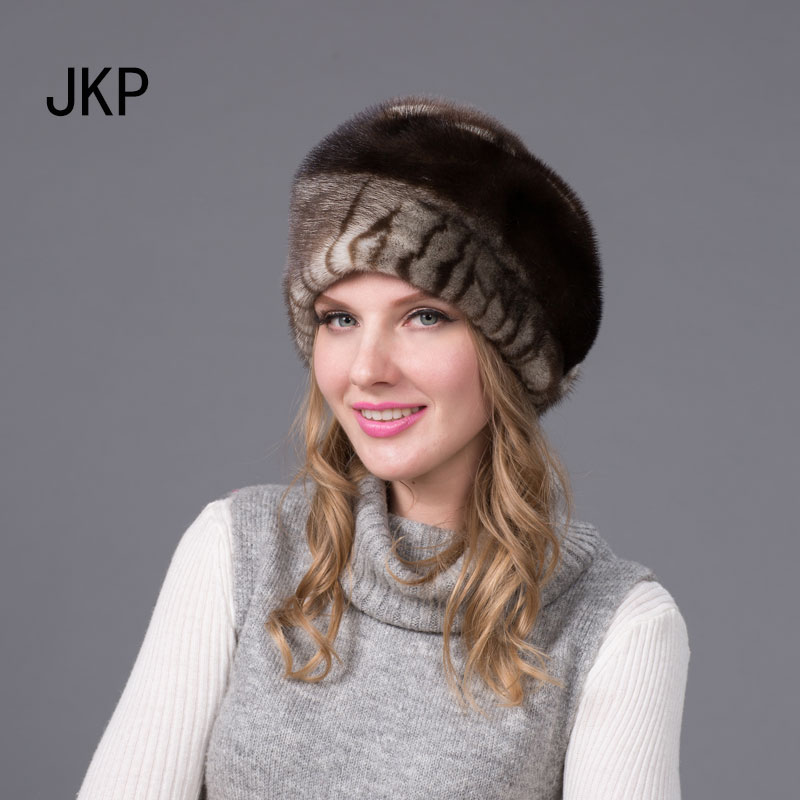 JKP 2018 Russia Real mink fur hats for women winter fur hat with a mink good