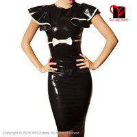 Sexy Latex dress with bow Latex Dress Rubber Bandeau Bodycon short above knee playsuit plus size women top plus size QZ 041