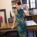 Nova Chegada de Cetim de Seda Vestido Longo Cheongsam Moda Estilo Chinês das Mulheres elegante Qipao Vestidos Tamanho S M L XL XXL XXXL 246086