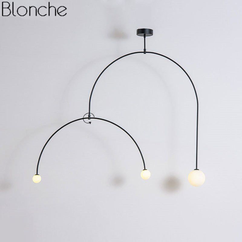 Nordic Iron U Line Pendant Lights Modern Led Hanging Lamp for Dining Room Bedroom Home Lighting Fixtures Art Decor Luminaire G4 iwhd iron led pendant lights modern fashion bedroom hanging lamp dining room suspension luminair home lighting fixtures lampara