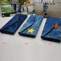 2016 Denim triangle fold Sun glasses case Brand for men and women button Paper licensing Five-pointed star Glasses box