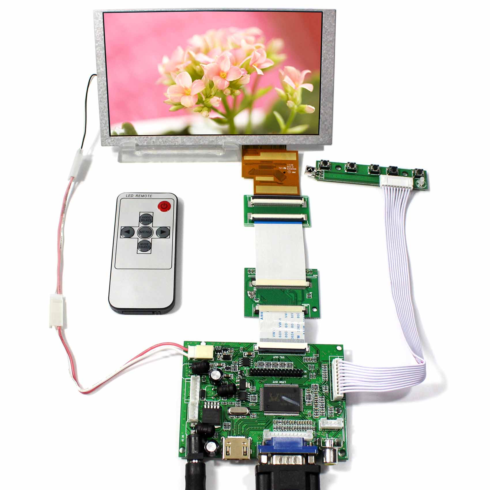 Здесь можно купить  HDMI VGA 2AV+Reversing LCD Controller Board+6.2inch HSD062IDW1 800x480 LCD Screen  Бытовая электроника