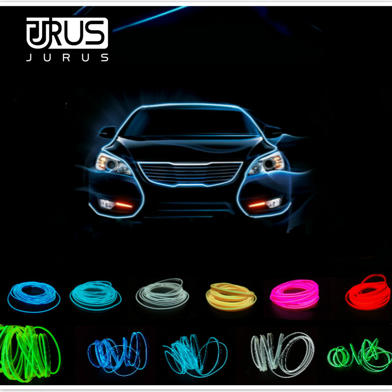 JURUS 5M Car Light Accessories El Wire Led Flexible Neon Tape For Auto Rope Tube Lights