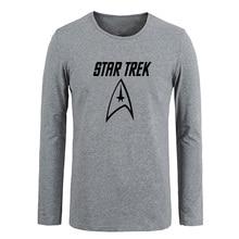 Science Fiction Film Classics Star Trek Crew Logo Men Cotton Long Sleeve Tops Tees  for Boy Casual Clothing Spring T shirt