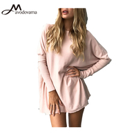 Avodovama M 2017 Autumn Winter Women Blouse Fashion Full Long Batwing Sleeve Solid Loose Tops