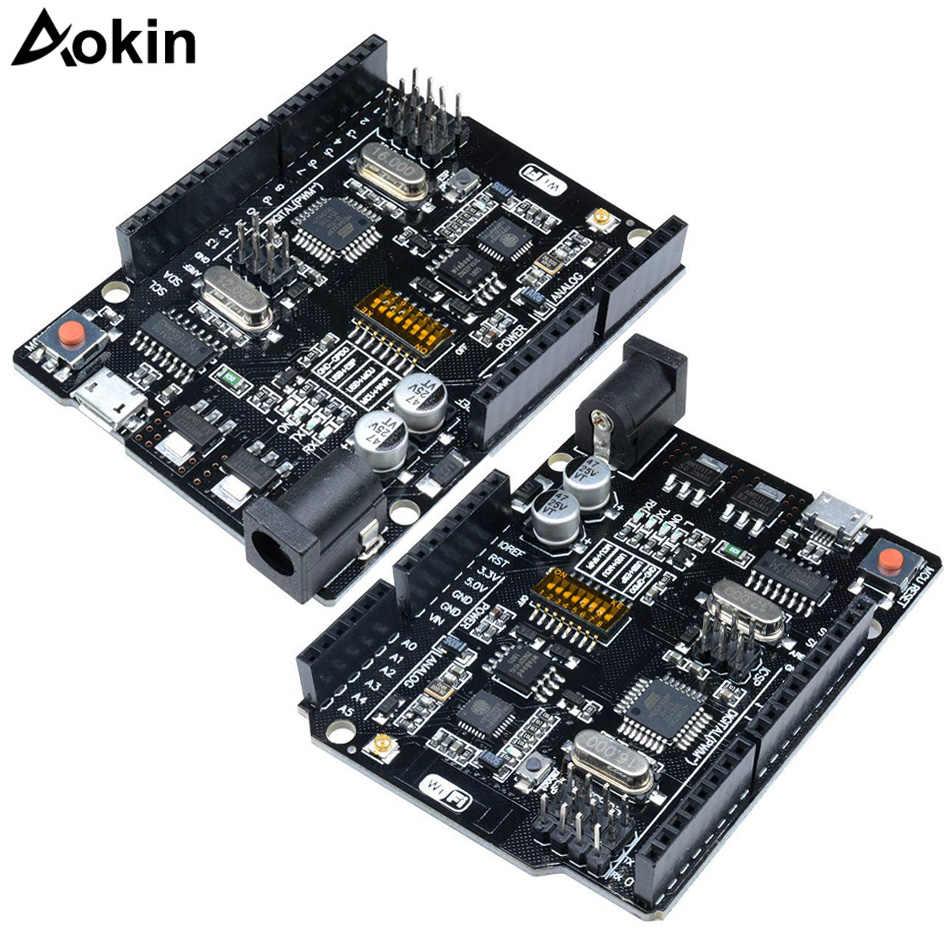 UNO + WiFi R3 ATmega328P + ESP8266 (ذاكرة 32 ميجا بايت) USB-TTL CH340G لاردوينو Uno ، NodeMCU ، WeMos ESP8266 واحد