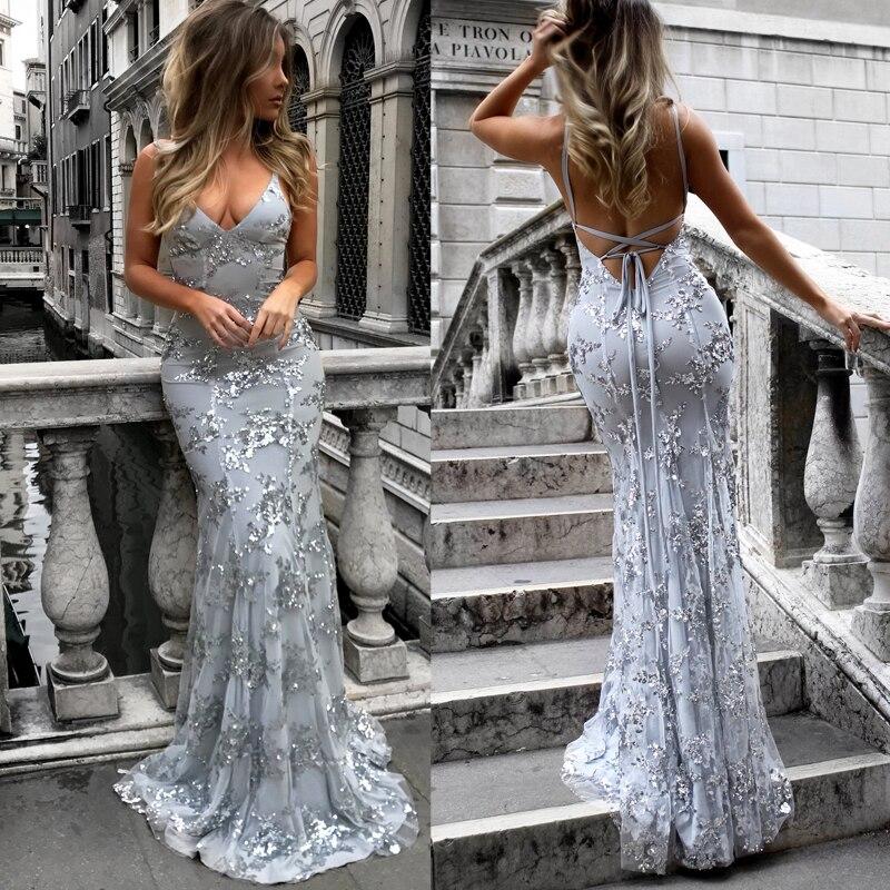 Maxi Dress Wedding Evening Party Dress Sexy Tie Backless Night Gown Tulle Floor Dress Glitter Strap Sheath Fishtail Formal Dress Aliexpress,Dip Dye Wedding Dress Black