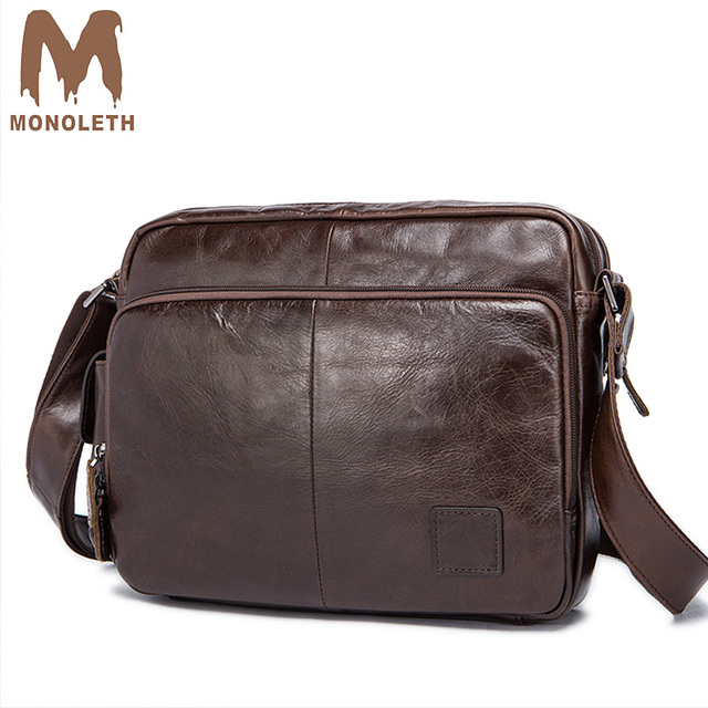 Monoleth Men S Shoulder Bag Vintage Genuine Leather Messenger Bags For Business Crossbody School