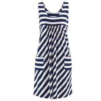 Модное платье в полоску, летнее платье большого размера, свободное простое платье без рукавов, женская одежда 4