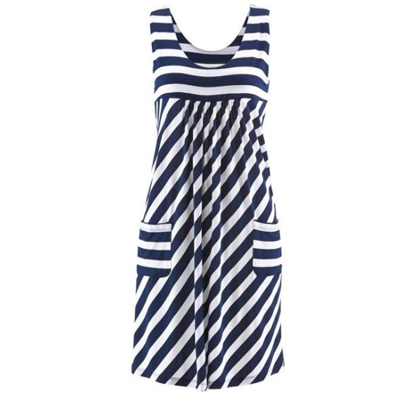 Fashion striped dress large size summer dress  loose simple sleeveless dress women's clothing 3