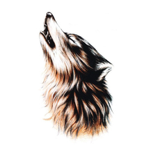 2PCS 3D Tattoo Sleeve Sketch Horrible Brown Howl Wolf Head Designs Cool Chest Body Art Temporary Tattoo Stickers Fake Big Tatoos