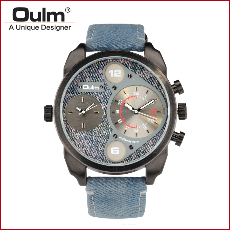 2018 OULM HP9316N Army Military Fashion Men Watch Dual time zone watch Thermometer wristwatch Jean Strap watch Sports Watch цена