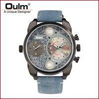 2018 OULM HP9316N Army Military Fashion Men Watch Dual time zone watch Thermometer wristwatch Jean Strap watch Sports Watch