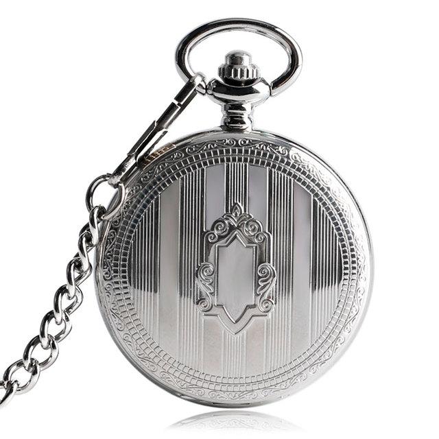 Luxury Watch Men Automatic Mechanical Silver Pocket Watch Fashion Self Wind Stripe Women Men Nursing Fob Clock Shield Pendant