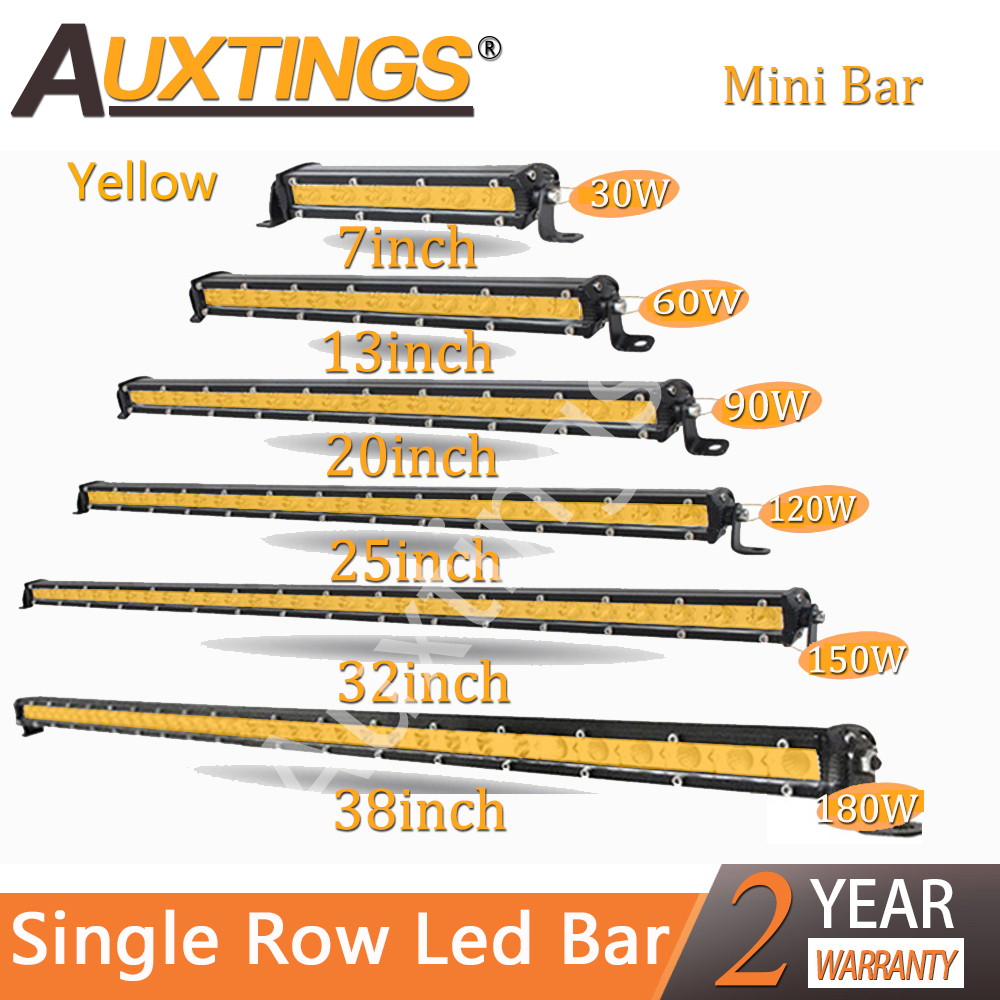 "Auxtings 7"" 13"" 20'' 25'' 32'' 38'' Super Mini Slim Single Row Yellow Led Light Bar Work Driving Light SUV OffRoad Bar 12V 24V"