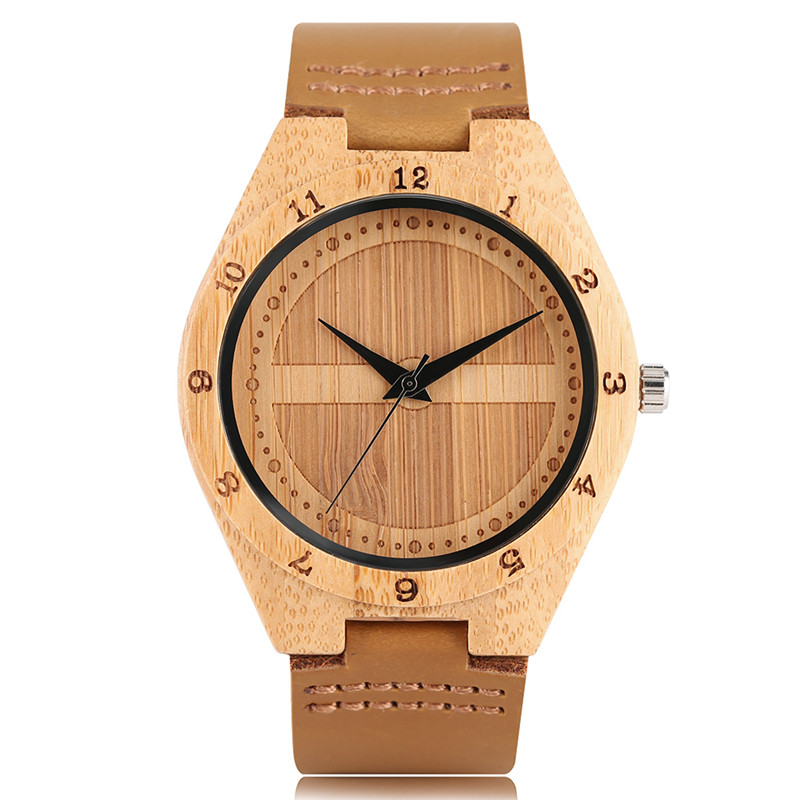 Luxury Hand-made Men Quartz Bamboo Wooden Watches Genuine Leather Watchband Natural Casual Design Wood Watch Best Gift for Male
