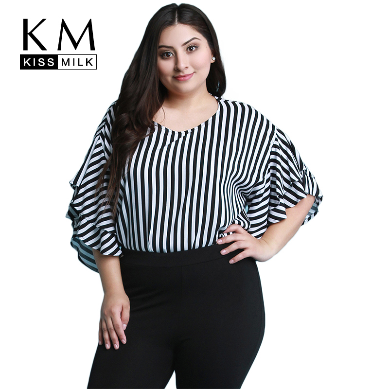 Kissmilk Plus Size Women Casual Black And White Stripe Print Half Ruffles Sleeve Tops Blouse Loose Basic O Neck Long Shirt