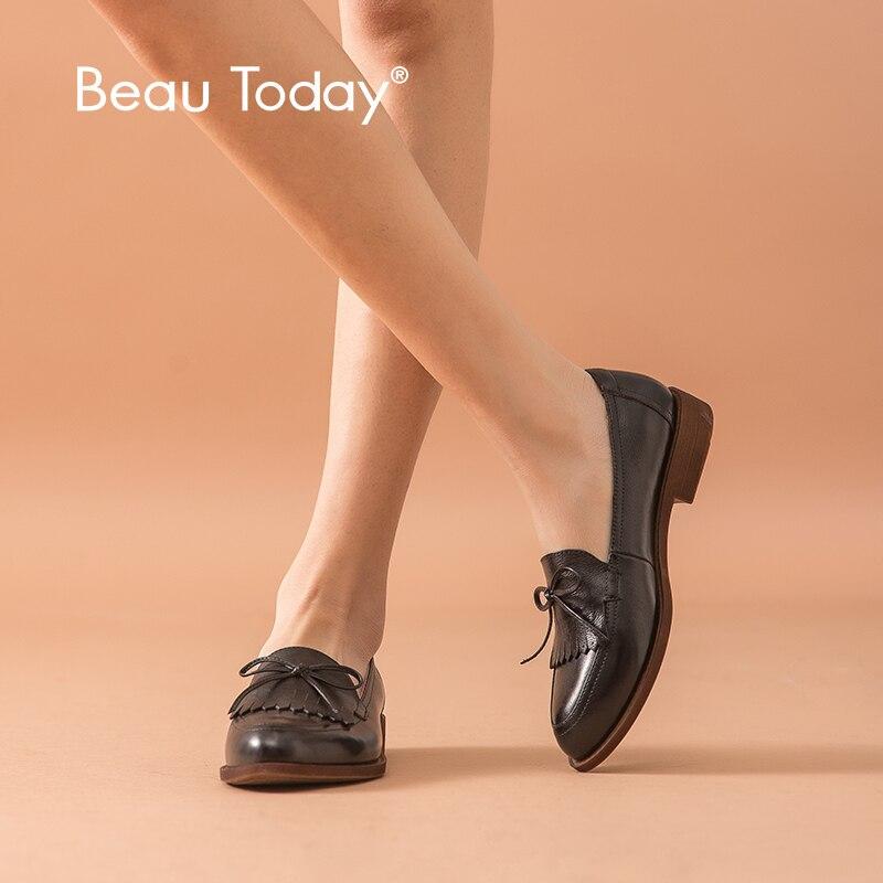 BeauToday mocassins à franges femmes en cuir de vache bout pointu Bowknot femme noir sans lacet chaussures plates à la main 2711610