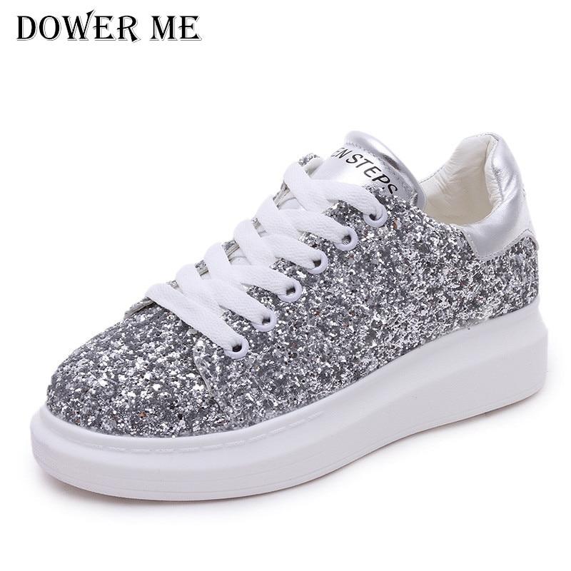 Hot Sale 2017 Fashion Women Platform Shoes Silver Glisten Heighten Sport Thick Heel Casual Walking Flat Shoes Plus Size
