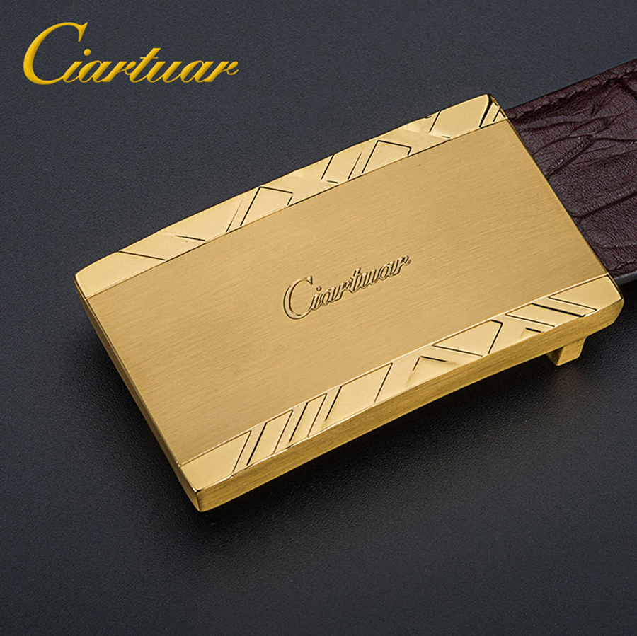 2019 ciartuar new design quality men belt genuine leather strap trousers first layer cow skin gold sliver buckle free shipping
