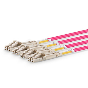 Image 2 - QIALAN 10 m MTP MPO Patch Kabel OM4 Weibliche zu 6 LC UPC Duplex 12 Fasern patchkabel 12 kerne jumper OM4 Breakout Kabel,