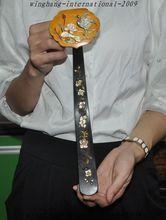 christmas Antiques China Rosewood Inlay Shell Bone Crane Lotus Auspicious lucky Ruyi Ru Yi halloween