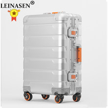 "LEINASEN sale 20"" inch 100% aluminium rolling luggage business travel suitcase aluminum spinner trolley bag on wheel(China)"