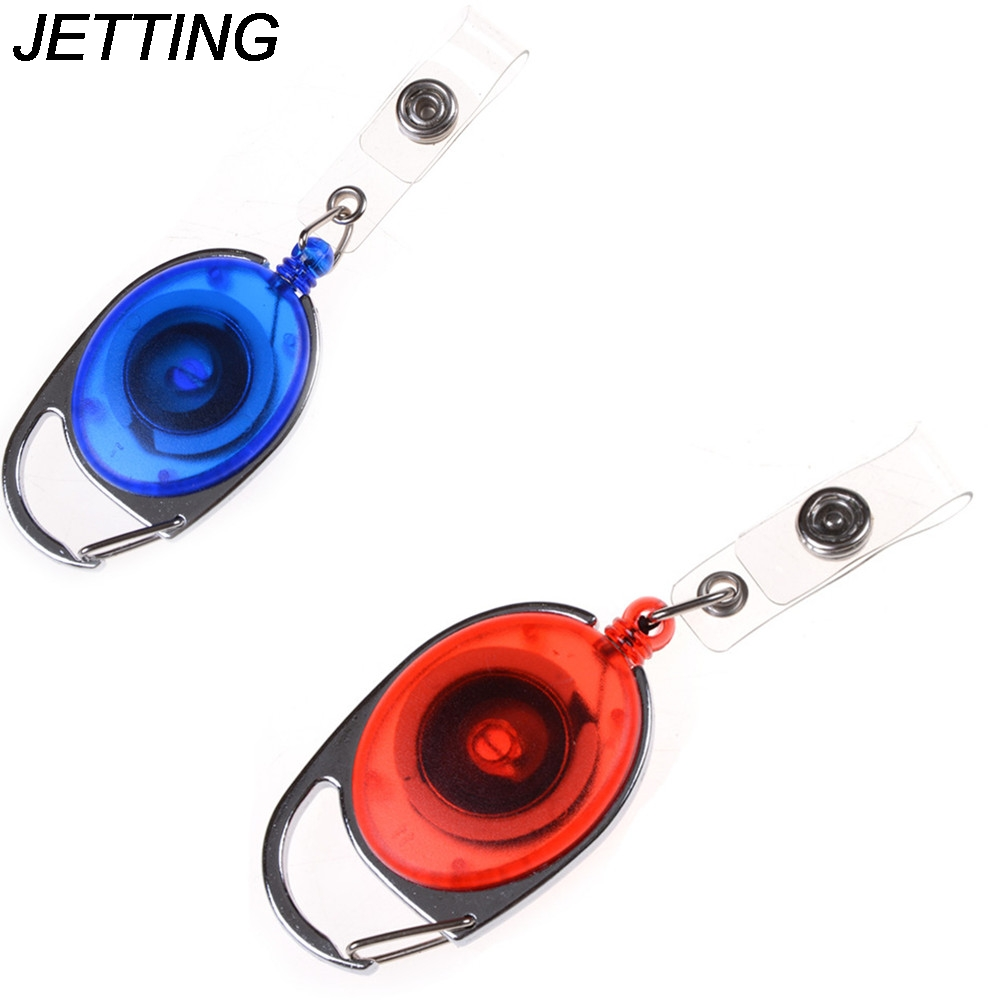 JETTING 1PCS Fashion Retractable Pull Key Ring Chain Reel ID Lanyard Name Tag Card Badge Holder Reel Recoil Belt Key Ring Clip ring linked chain embellished belt