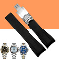 AOTU 20mm New Men Black Strap for Clock Silicone Rubber Watch Band Curved End Deployment Clasp Buckle for Rolexwatch +Free TOOLS
