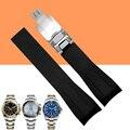 Aotu 20mm new men preto cinta para o relógio de borracha de silicone Faixa de relógio Extremidade Curva Implantação Fecho Fivela para Rolexwatch + Free FERRAMENTAS